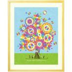出産祝い 赤ちゃん 誕生記念品 名入れ 絵画アート(幸せの花束 虹色/Mサイズ) 1歳誕生日 プレゼント ギフト