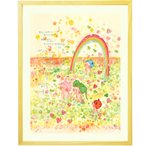 絵画インテリアアート 壁掛け (限りない世界/額入り-Mサイズ) 子供部屋 花畑 額絵 部屋に飾る絵