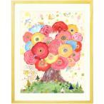 優しい絵画 インテリア アート 花 (咲きつづく日々/額入り-Mサイズ) 玄関に飾る絵 リビング 部屋 北欧 壁掛け 風水 ピンク パステル 和み 癒し 明るい