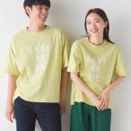 OMNES ユニセックス バイオ加工 綿100%プリント半袖Tシャツ  レディース メンズ カジュアル トップス ロゴTシャツ ロゴプリント メッセージロゴ