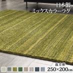 日本製 ラグマット ミックスカラーラグ ルーナ 250x200cm 長方形 ラグ 洗える 防ダニ 3畳 三畳 防音 防炎 カーペット ウォッシャブル