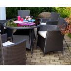 高級人工ラタン ガーデンチェア テーブル 5点セット 茶 ブラウン 人工ラタン ウィッカー ガーデンファニチャー 08BT-S5 送料無料
