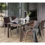 高級人工ラタン ガーデンチェア テーブル 5点セット 茶 ブラウン 人工ラタン ウィッカー ガーデンファニチャー 21BT-S5D 送料無料