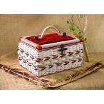 【新商品】国産手編みのソーイングバスケット(お裁縫箱)こうのとり 赤 針箱屋オリジナル 限定販売商品 プレゼント 贈り物 お祝い