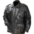 Giovanni Navarre メンズイタリアンストーンデザインジェニュインブラックレザーフィールドジャケット