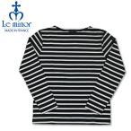 ルミノア バスクシャツ ボーダー柄 ボートネック サイドスリット Le minor ブラック/ホワイト