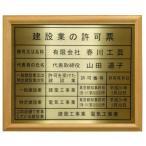 建設業の許可票【本物の金属製・真鍮ゴールド】木地額入り・板面は最高級・真鍮ゴールド/建設業の許可票 建設業許可票 事務所用・標識・看板
