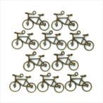金古美 チャーム 10個セット 自転車 アンティークゴールド アクセサリー パーツ カン付き サイクリング 金具 金属 メタル ピアス タッセル レジン 素材 材料