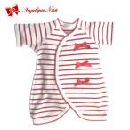 小さな赤ちゃんのための肌着コンビ肌着赤ボーダーリボン あす楽 カバーオール 小さい赤ちゃん ロンパースベビー服低出生体重児低体重児未熟児早産児プリミー