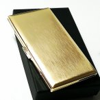 シガレットケース 真鍮製 タバコケース リリースリム かっこいい ゴールドサテン ロング対応 おしゃれ 薄型モデル 日本製 メンズ ギフト