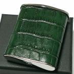 携帯灰皿 おしゃれ タスカ グリーン レザー クロコ型押し 革巻き 日本製 PEARL 牛本革 緑 国産 ブランド かわいい プレゼント かっこいい 屋外 ギフト