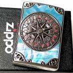ZIPPO ライター おしゃれ シェル アンティークコンパス ジッポ かっこいい 両面加工 シルバーイブシ 天然貝象嵌 メンズ レディース ギフト