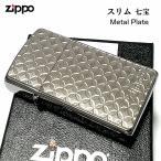 ZIPPO スリム ジッポ ライター 七宝 細密エッチング 彫刻 ニッケル鍍金 シルバー Metal Plate 可愛い おしゃれ メンズ レディース