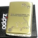 ジッポ ライター ZIPPO 猫 ゴールド 真鍮 いぶし仕上げ おしゃれ メンズ 金 可愛い キャットシリーズ ギフト プレゼント