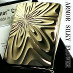 ZIPPO ジッポ 重厚アーマー シルキーフラワー 花模様 両面彫刻 金ユニット 高級 ジッポー ゴールド K24GP 純金メッキ