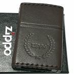 ZIPPO ライター 革巻き ダークブラウン ジッポ ロゴデザイン レザー シンプル 本牛革 濃茶 かっこいい 皮 メンズ 渋い