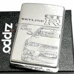 ZIPPO スカイラインGT-R 生誕50周年記念 ジッポ ライター R33 限定 日産公認モデル GTR-BCNR33 シリアル入り シルバーイブシ 両面加工 かっこいい メンズ ギフト