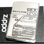 ZIPPO ライター スカイラインGT-R 生誕50周年記念 ジッポ R34 限定 日産公認モデル GTR-BNR34 シリアル入り シルバーイブシ 両面加工 かっこいい メンズ
