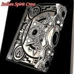 ZIPPO ライター インディアンスピリット ジッポ マットブラック かっこいい クロス オニキス ハウライト 天然石 おしゃれ 大型3面メタル 彫刻 メンズ ギフト