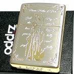 ZIPPO ライター マリア ジッポ シルバーサテン 金銀 エッチング彫刻 かっこいい おしゃれ メンズ レディース ギフト プレゼント