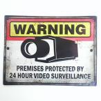 アメリカン ブリキ看板 監視カメラ WARNING プレート セキュリティー 防犯 メタルサイン ガレージ ビンテージ アメリカン雑貨 アメリカ インテリア