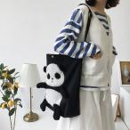 トートバッグ おしゃれ エコバッグ 通勤、通学バッグ パンダ柄 可愛い ショルダーバッグ