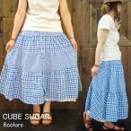 CUBE SUGAR キューブシュガー クリンクル先染ギンガムチェックティアードスカート 6colors (13011329) SS13LADYS