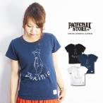 ラフなデザインのスラブ天竺ペンギンプリントTシャツ