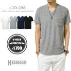 ショッピングカットソー カットソー メンズ パイル Vネック 無地  ポケット付き 半袖 Tシャツ サーフ系