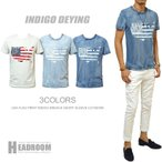 カットソー メンズ アメリカ 星条旗 デザイン インディゴ 染め クルーネック ポケットTシャツ ポケT サーフ系