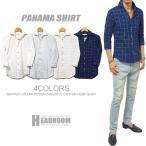 カジュアルシャツ メンズ スキッパー襟 綿麻 7分袖 ドレスシャツ リネンシャツ