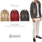 シャツ メンズ/V-menボアフード付きウオッシュ加工コーデュロイシャツ/長袖ネルシャツ パーカー