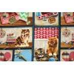 30cm1パネル 猫好き集まれ!USAコットン USA SPX FABRIC「Sewing cat」/猫/猫柄/ネコ/生地/布/綿/輸入生地/パネル