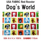 USA FABRIC Red Rooster「Dogs World」/生地/布/綿/犬/犬柄/ドッグ/輸入生地/いぬ/イヌ