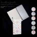 浅草文庫革 友禅染 花菱柄 江戸小紋 iphone ケース 手帳型 スマホケース