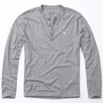 アバクロンビー&フィッチ 正規品(本物) メンズ ロングTシャツ ( ロンT ヘンリーネック ) Abercrombie&Fitch Icon Henley (グレー) [ロンt ロンt ]