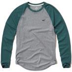 ホリスター 正規品(本物) メンズ ロングTシャツ ( ロンT ) Hollister Textured Colorblock Raglan T-Shirt (グレー) [ロンt ロングtシャツ ]