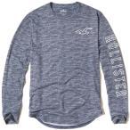 ホリスター 正規品(本物) メンズ ロングTシャツ ( ロンT ) Hollister Textured Logo Graphic Tee (ブルー) [ロンt ロンt ロングtシャツ ]