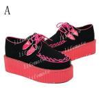 ★ 正規品【新品】ブラック レッド 2色 レディース ニュー 欧米仕様  厚底靴 婦人靴  スーパーセール