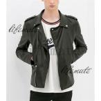ヨーロッパ人気デザイン ZARA メンズ 長袖 PUレザー ジャケット ブラック ホワイト