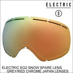 ELECTRIC エレクトリックゴーグル ジャパンフィット EG2 SNOW SPARE LENS GREY/RED CHROME JAPAN LENSES スノーボード ゴーグル スペアレンズ