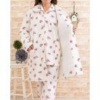ガウン裏地付き パジャマ レディース 羽織り物 冬 綿100% ニットキルト地ローズ柄キルティング  女性用
