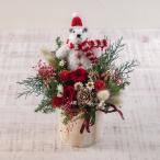 クリスマス プリザーブド&アーティフィシャルアレンジメント「ハッピースノーマン」レッド系 日比谷花壇