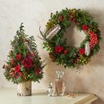 クリスマス ドライ リースとツリーのセット「ノエル ド ルージュ(赤)」プリザーブドフラワー 送料無料 日比谷花壇