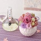 花とお酒 ギフト 文楽「純米吟醸『金舞酒(金箔入)』」とプリザーブドフラワーのセット ピンク系 日比谷花壇