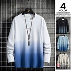 Tシャツ メンズ グラデーション 長袖Tシャツ ロンT 秋物 トップス 英字 細身 カジュアル ティーシャツ おしゃれ