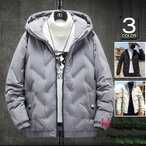 ダウンジャケット メンズ ジャケット ハイネック 防寒ジャケット 軽量 フード付き ダウン アウター リブブルゾン