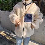 即納 ジャケット レディース ボアジャケット アウター ボア ブルゾン ふわふわ おしゃれ ホワイト 白 防寒コート 冬 ゆったり 暖かい フリース 胸ポケット