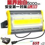業界独自安全第一対策 2台セット LED投光器 50w 3mコード 照明 防水 屋外 作業灯 集魚灯 800w相当 COBチップ 360°回転 EMC対応 カーポート PSE PL保険 HW-I