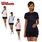 ウィルソン wilson テニス バドミントン ウェア 半袖Tシャツ レディース ロゴTシャツ W 14SU WRJ4872
